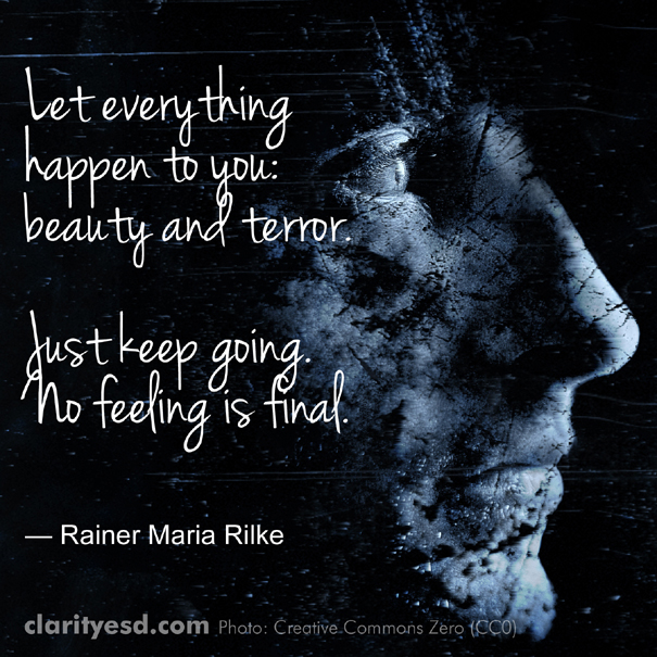 Let everything happen to you: beauty and terror. Just keep going. No feeling is final.