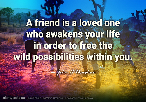 A friend is a loved one who awakens your life in order to free the wild possibilities within you.